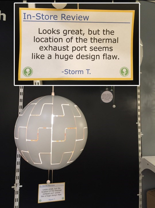 Text - h In-Store Review Looks great, but the location of the thermal exhaust port seems like a huge design flaw. -Storm T. nd d with ju llof aing. In-Store Review Looks great, but the location of the thermal exhaust port seems ke a huge design flaw. Stom T 3BE =::=
