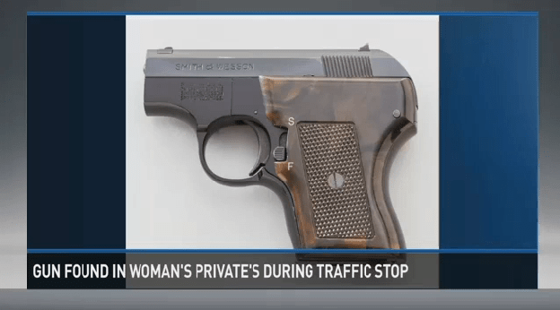 A woman used her vagina to conceal a loaded gun.