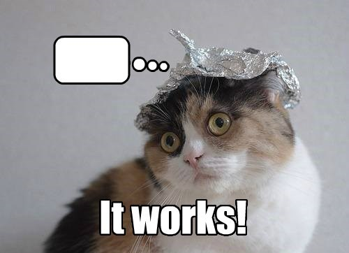 thoughts deep thoughts tinfoil hat caption Cats funny tinfoil hat tinfoil hat - 8563436288