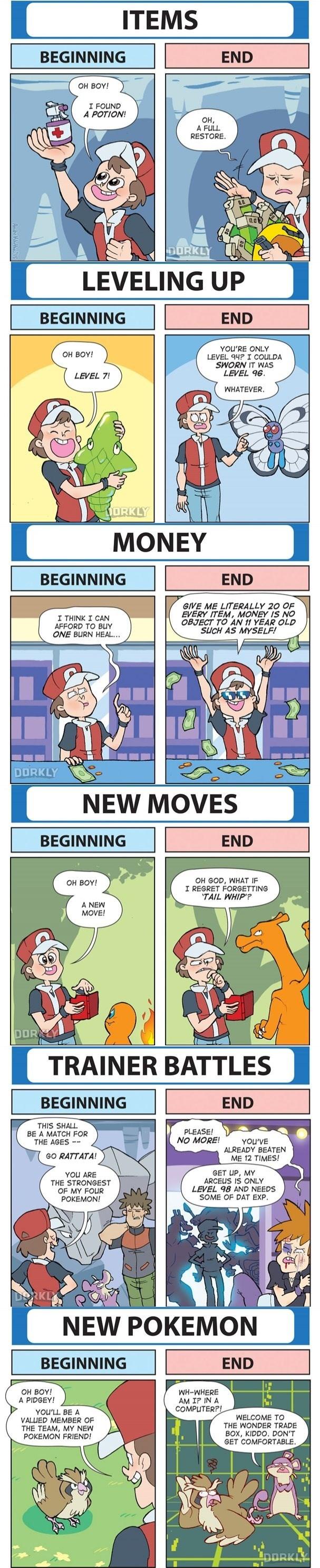 pokemon memes beginning vs end of game