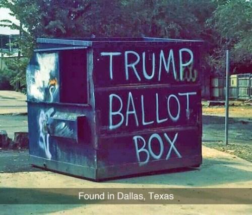 funny memes trump ballot box garbage