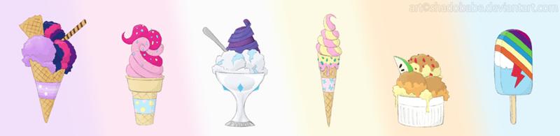 mane 6,ice cream,delicious