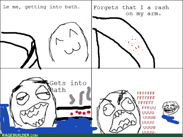 rage,bath,rash,burn