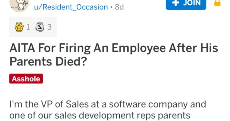 Am I The Asshole REDDIT firing employee after parent's died