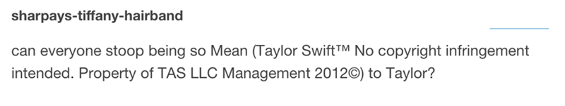 """tweet jokingly crediting Taylor Swift when using the word """"mean"""" in a sentence"""