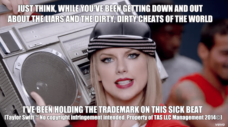meme about Taylor Swift trademarking phrases