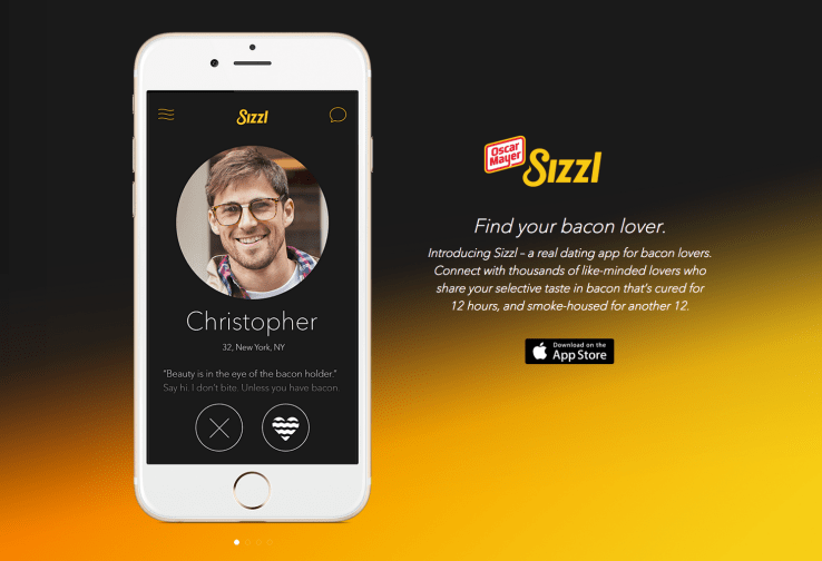 Sizzl,tinder,ios,oscar mayer,dating,App,iphone