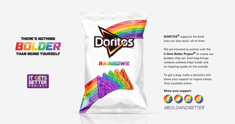 Doritos makes rainbow chips to support the LGBT community.