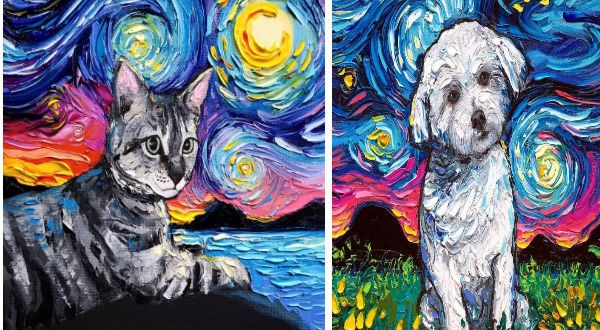 """cat and dog inserted into """"Starry night"""" by Van Gogh"""