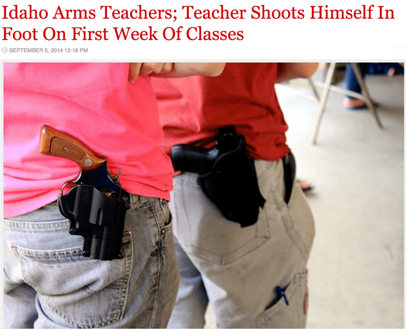 funny fail idaho teacher shoots himself in the foot first week