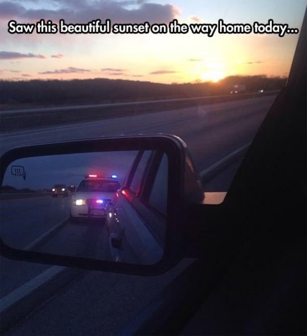 FAIL driving sunset police - 8566109696