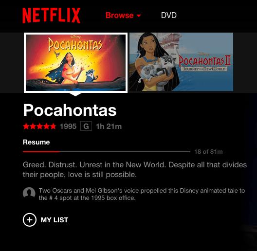 Netflix changes the sexist, culturally insensitive Pocahontas description.
