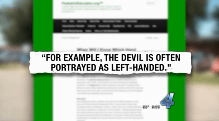 A four-year-old is evil for writing with his left hand according to an Oklahoma Teacher