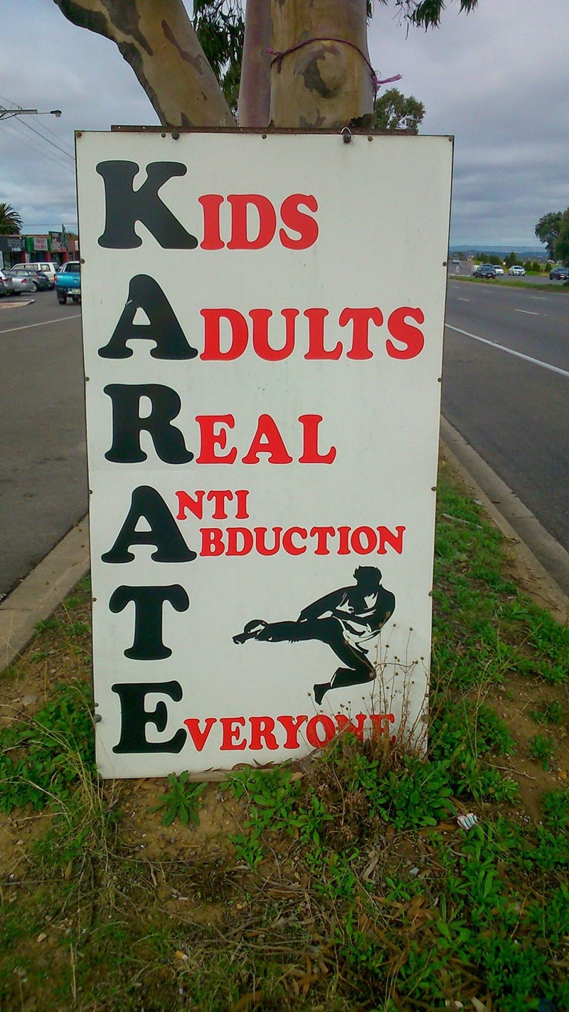 design fail of a sign advertising karate classes for anti abduction
