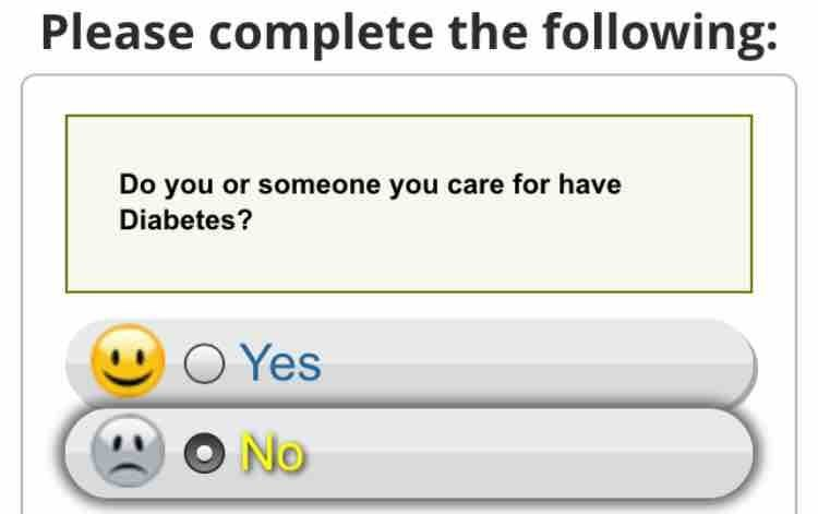 design fail of a questionnaire that expresses sadness over someone not having diabetes