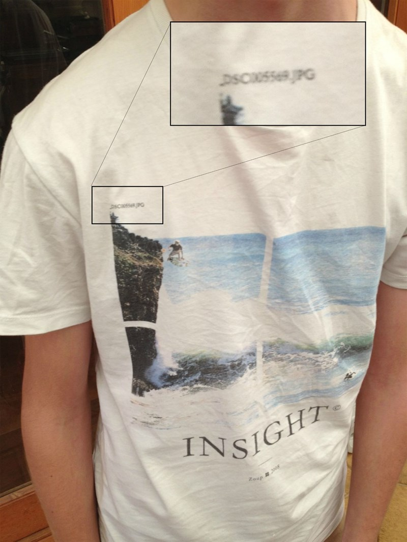 design fail of a shirt with printed with a file name