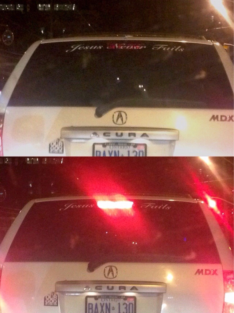 """design fail of a bumper sticker that reads """"Jesus fails"""" when the light turns on"""