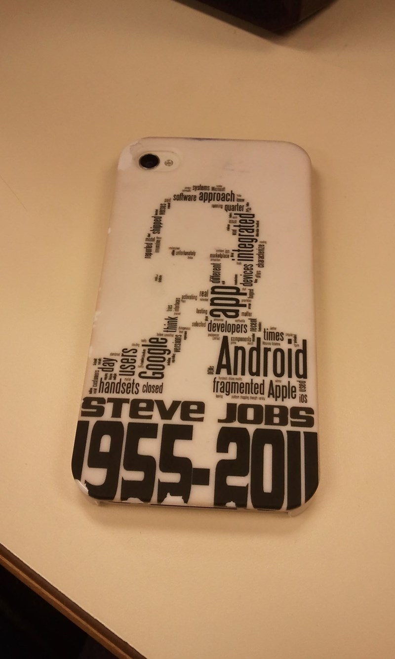 design fail of a Steve Jobs inspired iphone case with the word Android appearing prominently on it