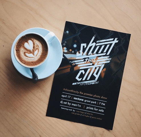 """design fail of a flyer to a photography event called """"shoot this city"""" that reads as """"shit this city"""""""