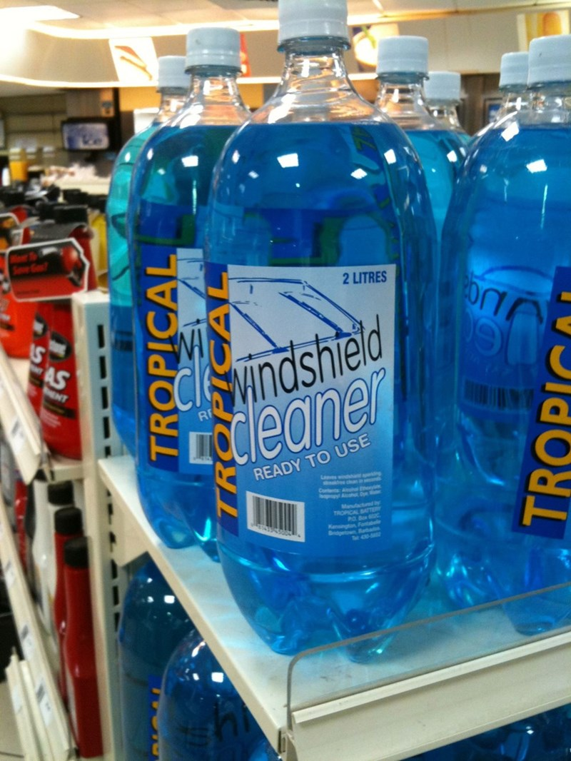 design fail of a windshield cleaner packaged like drinking bottles