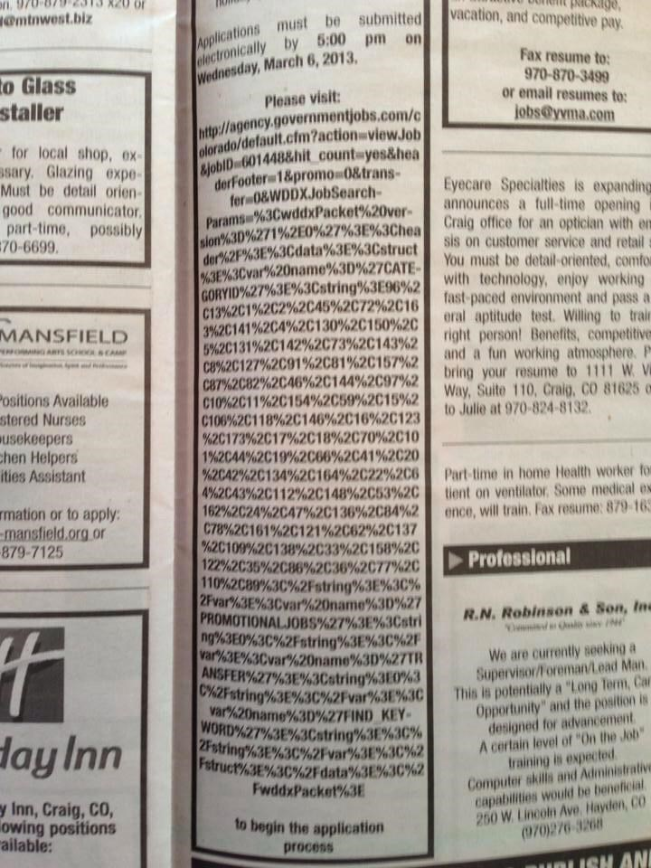 design fail of job posting in a newspaper with a ridiculously long link to the application form