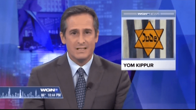 Local chicago news station uses a holocaust image for Yom Kippur.