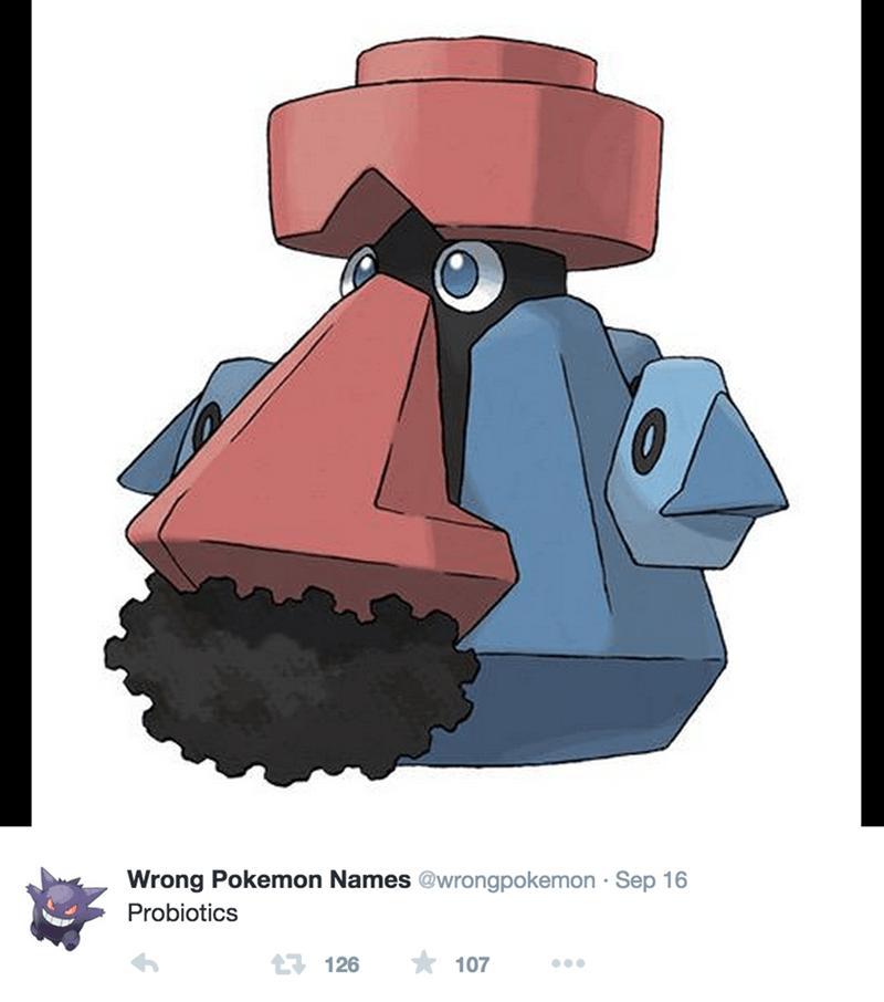 Cartoon - Wrong Pokemon Names @wrongpokemon Sep 16 Probiotics 107 126