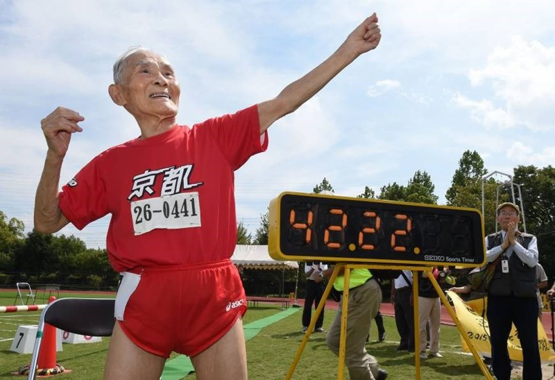 Hidekichi Miyazaki breaks the world record for the 100-Meter Dash.