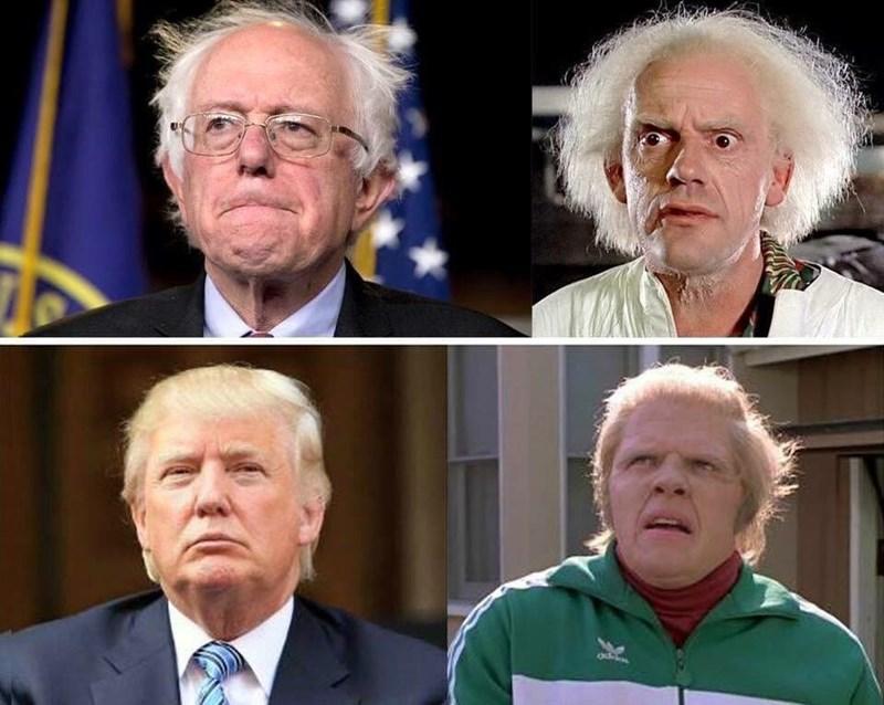 funny memes bernie sanders donald trump back to the future