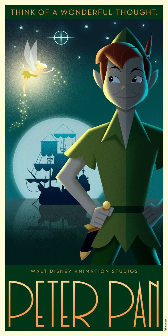 Poster - THINK OF A WONDERFUL THOUGHT. WALT DISNEY ANIMATION STUDIOS PITER PA AN