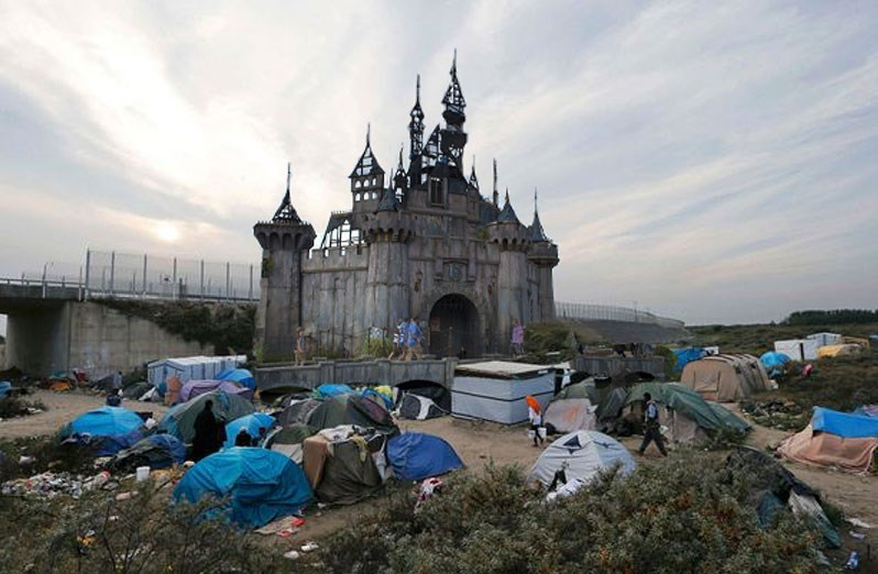 Banksy is donating the Dismaland materials to the Calais refugee camp.