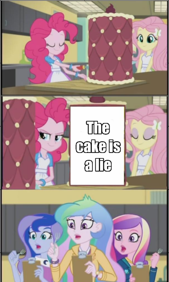 cake is a lie pinkie pie friendship games - 8569766656