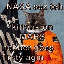 NASA sez teh kittehs on MARS nebber goes firsty agin