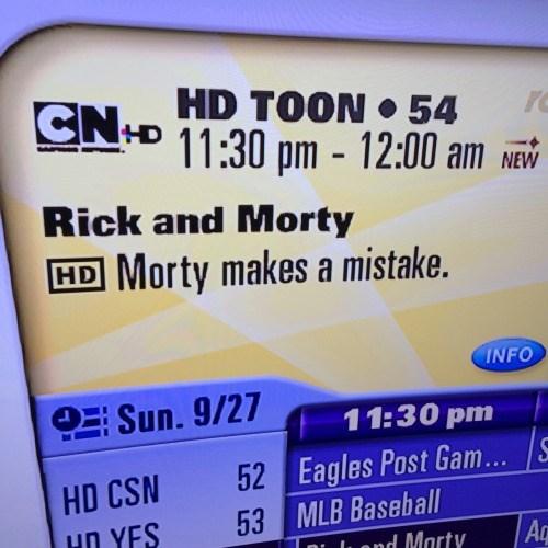 cartoon memes rick and morty makes a mistake