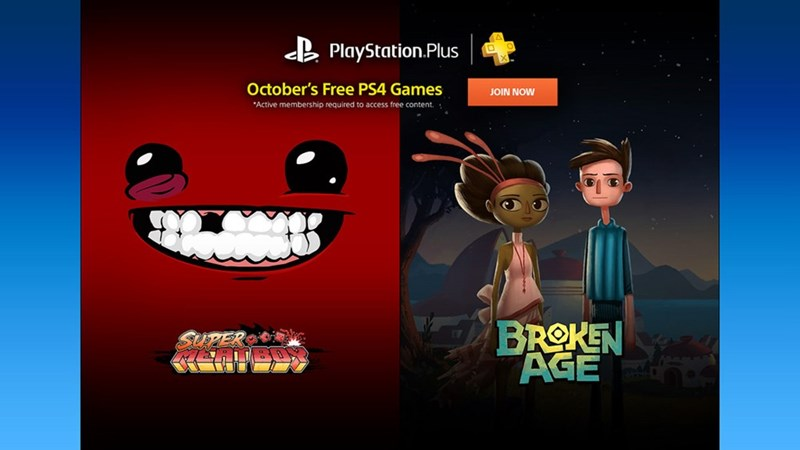 October free Playstation Plus games include Broken Age and Super Meat Boy
