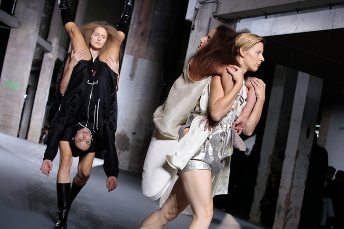 Human back backs take a turn on the Rick Owens runway