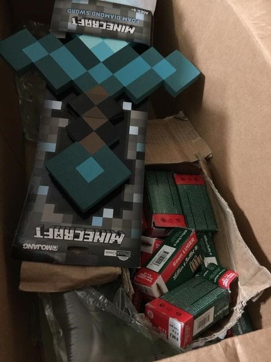Mom gets 800 rounds of ammo from Toys r us when she ordered a Minecraft sword.