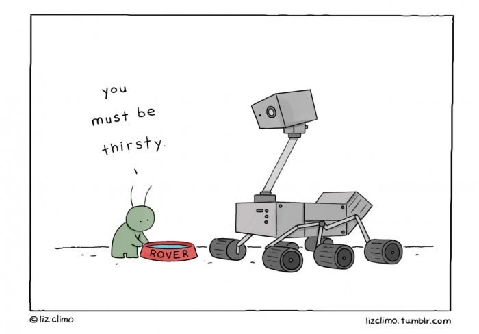 webcomic - Cartoon - nok must be thirsty ROVER liz climo lizclimo.tumblr.com