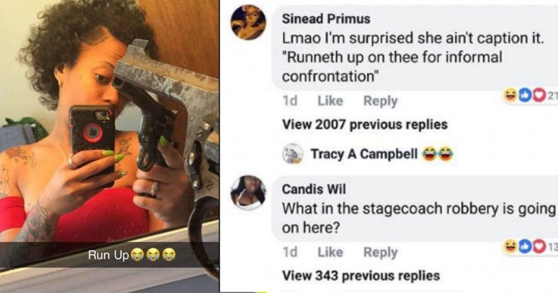funny comments on woman's pic of an old gun