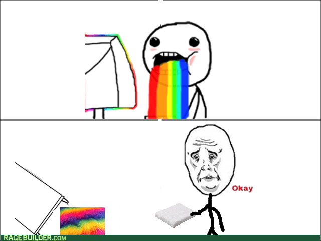 cleaning puking rainbow