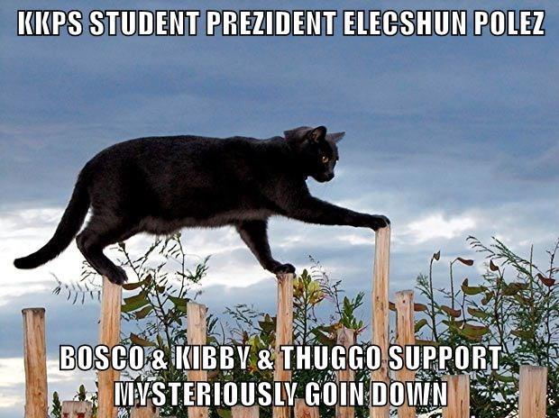 KKPS STUDENT PREZIDENT ELECSHUN POLEZ  BOSCO & KIBBY & THUGGO SUPPORT                      MYSTERIOUSLY GOIN DOWN