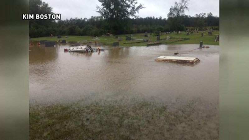 South Carolina floods cause caskets to rise out of the ground.