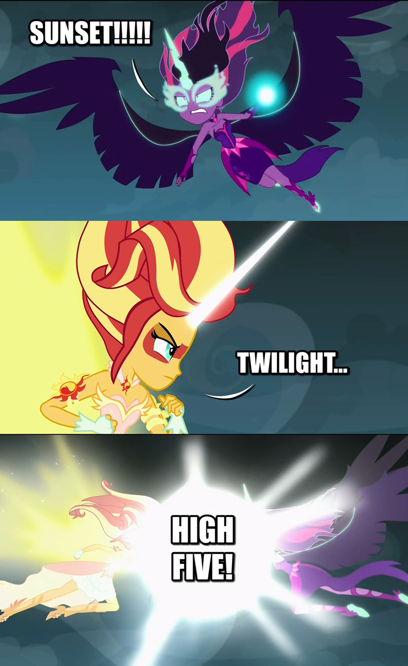 twilight sparkle high five sunset shimmer friendship games - 8572723968