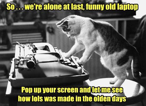 old cat lols caption olden days laptop funny made - 8572765440
