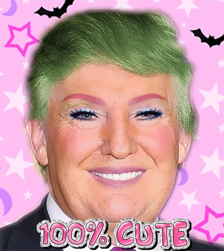 Kawaii Trump meme with green hair and colorful makeup