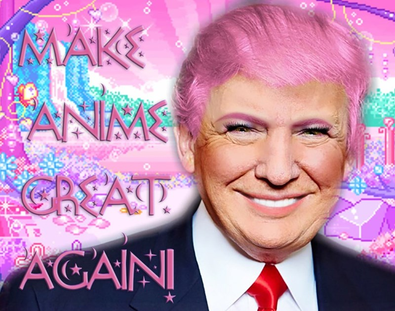 Kawaii Trump meme make anime great again