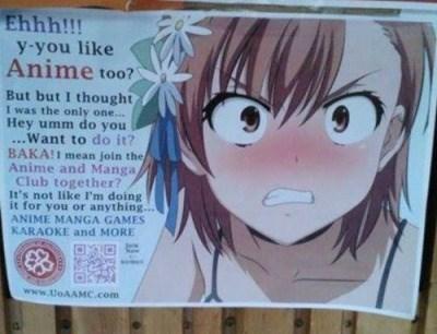 anime memes awkward anime club sign