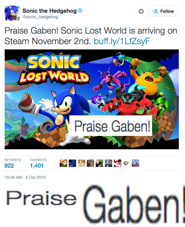 video game memes sonic twitter praise gaben