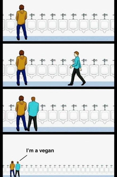 funny memes vegan at the urinal