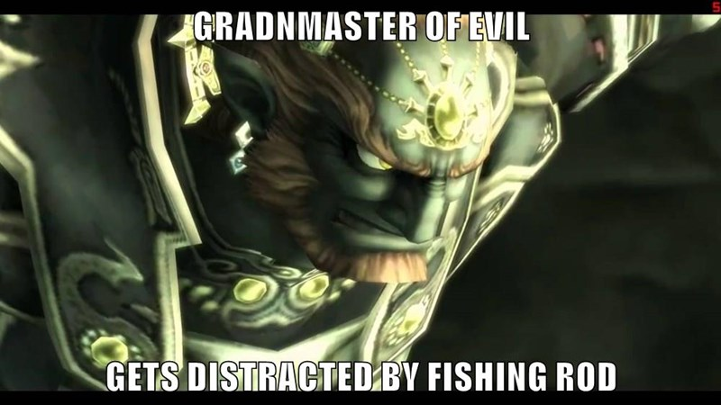 GRADNMASTER OF EVIL  GETS DISTRACTED BY FISHING ROD